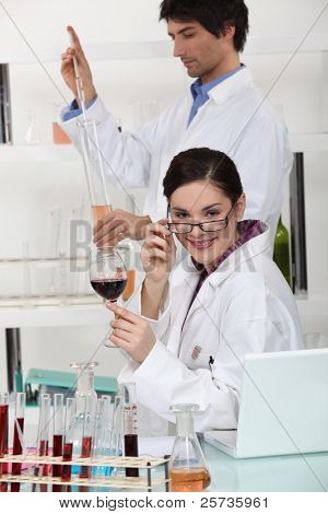 wine experts in the lab