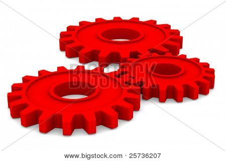 Three red gears on white background. Isolated 3D image