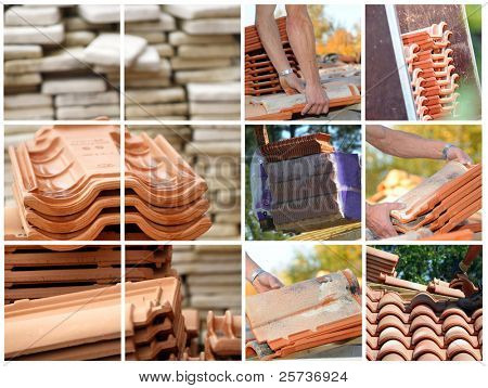 Mosaic of terracotta roof tiles