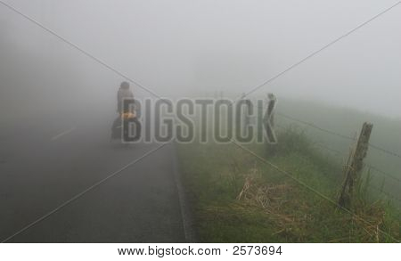 Foggy Road Cyclist
