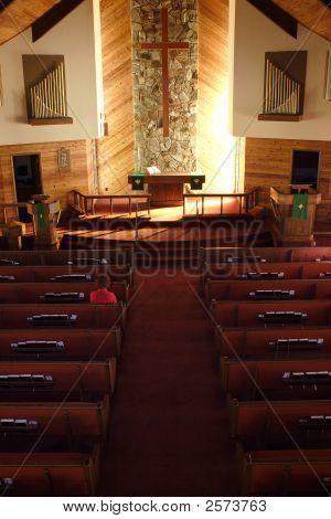 Inside a quiet church