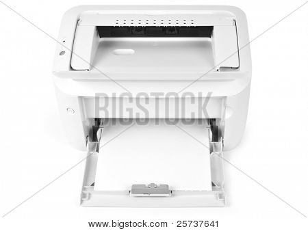 One white printer on white background