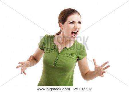 Young woman yelling and nervous with something, isolated on white