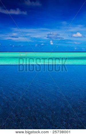 Strip of tropical ocean between intinity pool and sky
