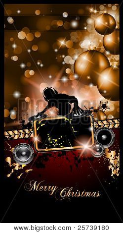 Christmas Party Event Background with Dj Shape and Fantastic Red Baubles and Glitters in the baclground. Ideal for music posters or depliant.
