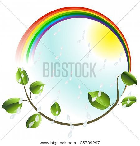 Eco concept. Rainbow with green leaves branch.