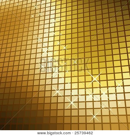 Abstract glittering golden mosaic vector  background.