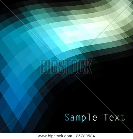 Blue and green mosaic dark vector background.