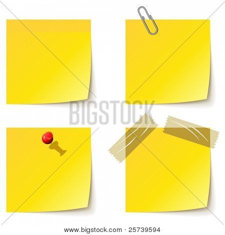 Yellow notice papers isolated on white.