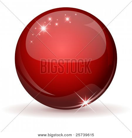 Red glossy sphere isolated on white.