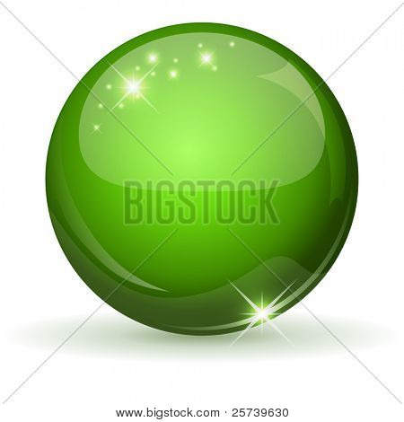 Green glossy sphere isolated on white.