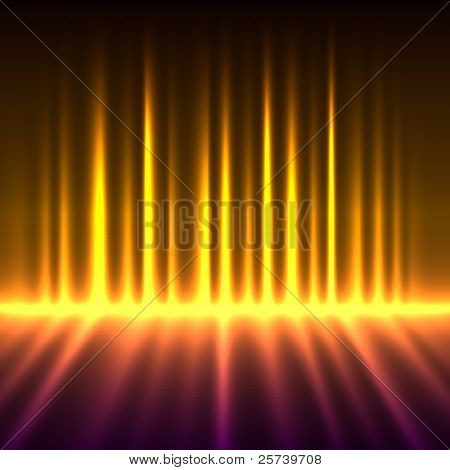 Abstract fire colored aurora borealis lights vector background.