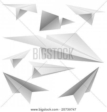 Aviones de papel vector conjunto.