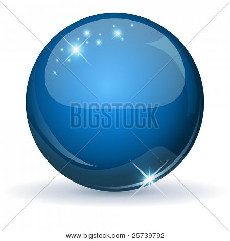 Blue glossy sphere isolated on white.