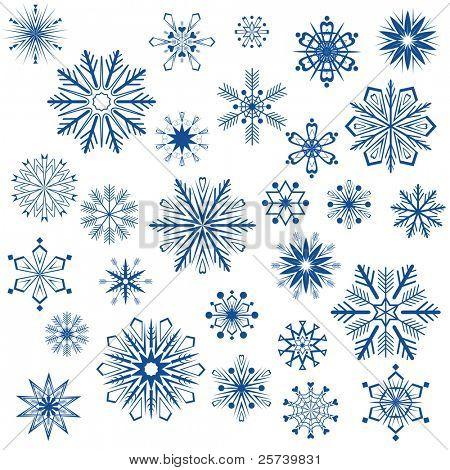 Big set of snowflake shapes isolated on white background.