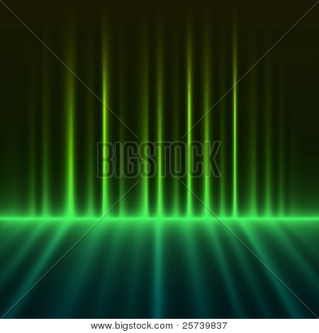 Abstract green colored aurora borealis lights vector background.