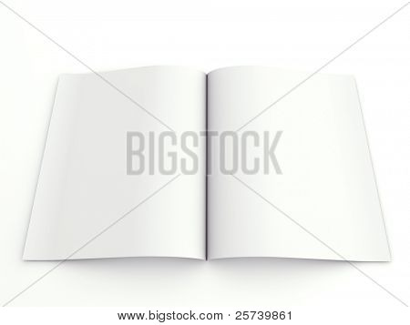 Blank opened advertising folder isolated on white background.