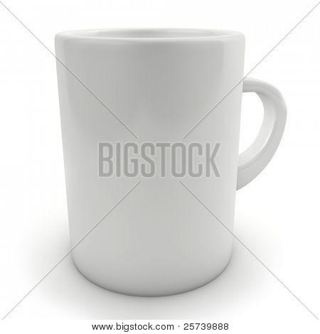 traditionelle leere weiße Tasse isoliert auf weiss.