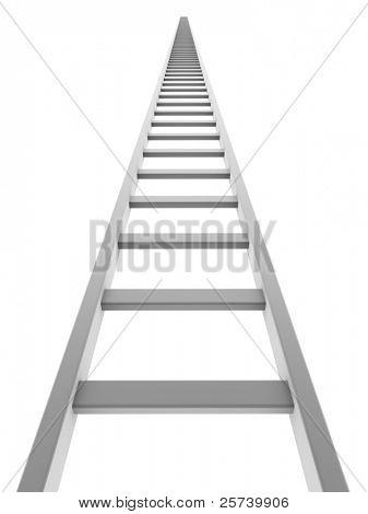 Escada branca subindo isolado no fundo branco.