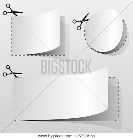 Cupón de publicidad blanco en blanco corte de hoja de papel.