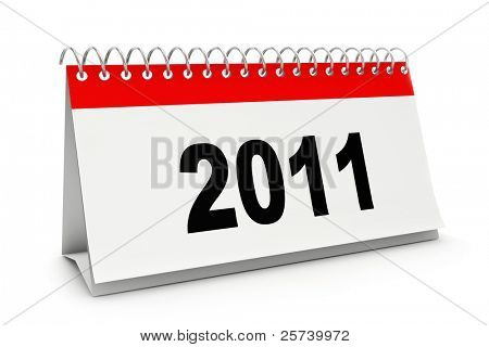 Desk calendar with 2011 figures  isolated on white.