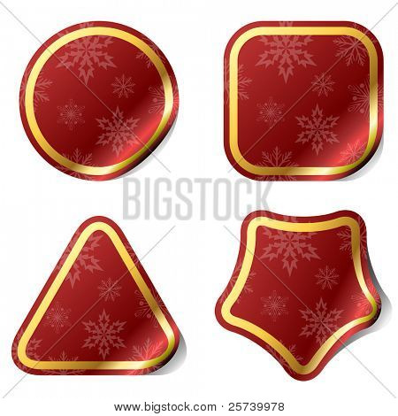 Blank Christmas red stickers with snowflake pattern.