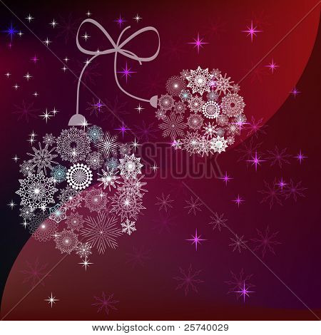 Christmas balls made of snowflakes reddish vector background.