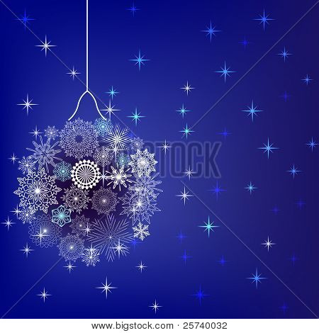 Christmas ball made of snowflakes vector background.