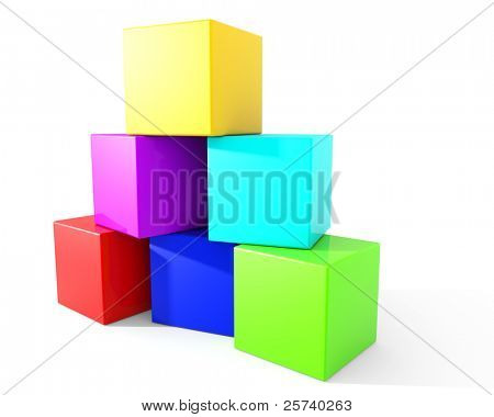 Colorful blocks stacked carelessly into a pyramid.