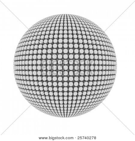 Abstract pimple covered sphere isolated on white.