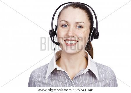 Friendly telephone operator smiling to you, isolated over white background.