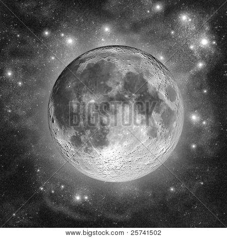 Lua cheia nas nuvens de poeira de estrela prata