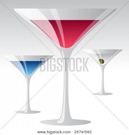 Cocktails. Cosmopolitan, Blue Lagoon, Martini