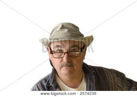 Older Man In Hat On White