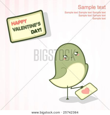 Valentine's Day card with cute bird holding love letter