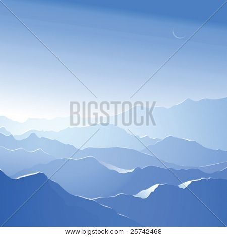 Snowy mountains. Vector landscape