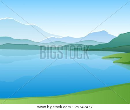 Mountain lake. Vector landscape
