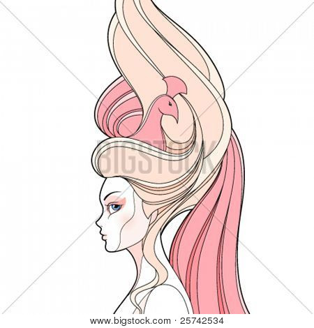Fashion girl with high hairstyle. Vector without background
