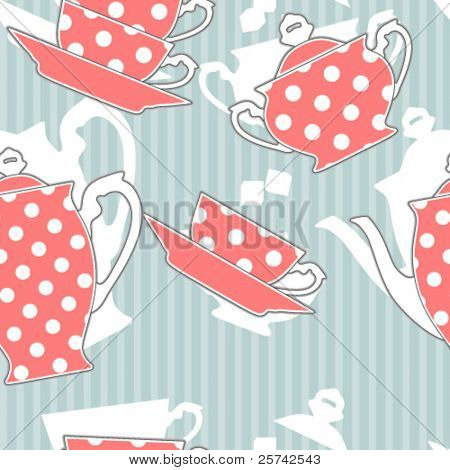 Retro polka dot tea set, seamless pattern