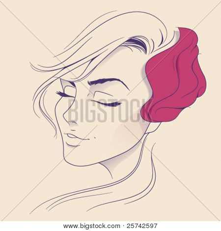 Blonde beauty. Abstract woman face