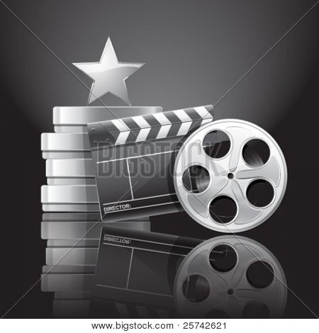Cinema composition. Movie clapper, film reel, containers and shiny star over black background