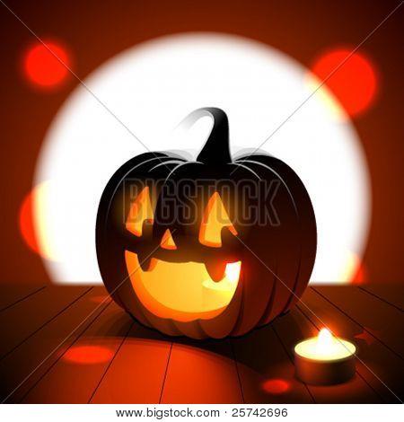 Halloween jack-o-lantern against full moon