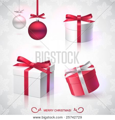 Christmas vector design elements, Christmas balls, gifts, pattern