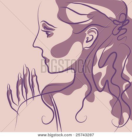 menina bonita, ilustração vetorial