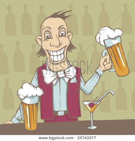 smiling barman with two beers and a cocktail