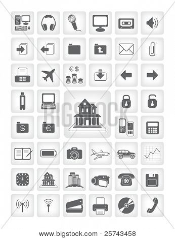 vector icons for web applications. business, computers, finance.