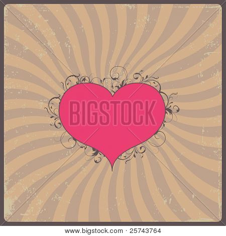 retro design with heart, vector