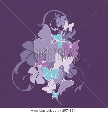 bunch of flowers and butterflies, vector