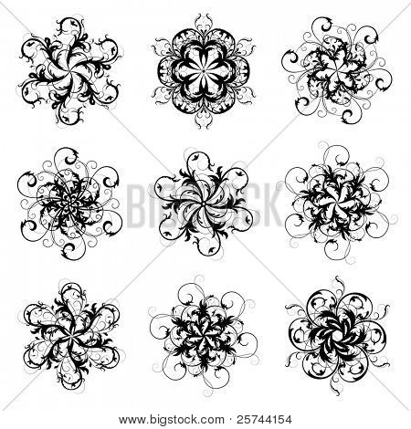 set of 6-pointed abstract stars, vector. Lots of details. No autotracing.