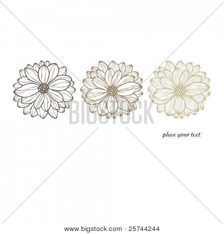invitation card with hand drawn flowers, vector